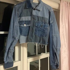 Denim Cropped Jacket- Patchwork